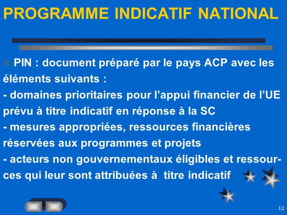 12 PROGRAMME INDICATIF NATIONAL PIN : document préparé par le pays ACP avec les éléments suivants : - domaines prioritaires pour lappui financier de l