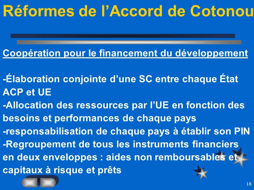 18 Réformes de lAccord de Cotonou Coopération pour le financement du développement -Élaboration conjointe dune SC entre chaque État ACP et UE -Allocat