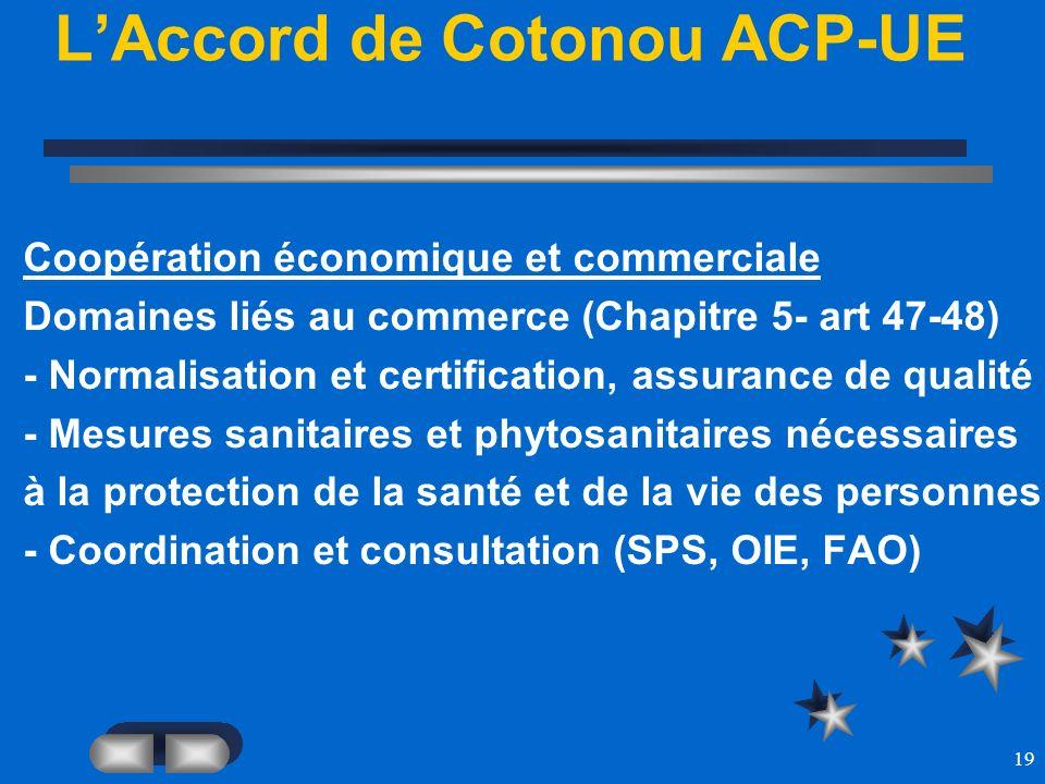 19 LAccord de Cotonou ACP-UE Coopération économique et commerciale Domaines liés au commerce (Chapitre 5- art 47-48) - Normalisation et certification,