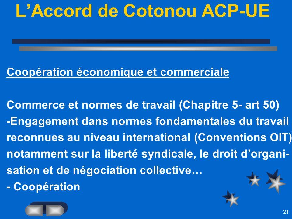 21 LAccord de Cotonou ACP-UE Coopération économique et commerciale Commerce et normes de travail (Chapitre 5- art 50) -Engagement dans normes fondamen