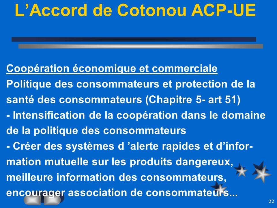 22 LAccord de Cotonou ACP-UE Coopération économique et commerciale Politique des consommateurs et protection de la santé des consommateurs (Chapitre 5