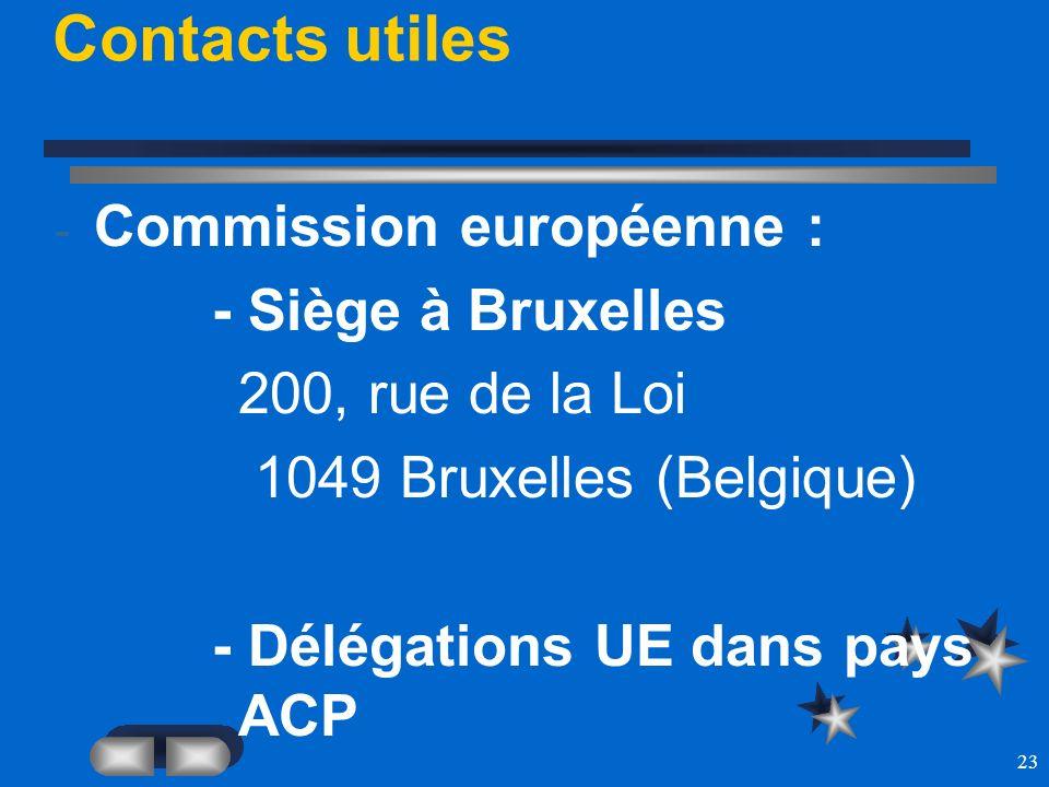 23 Contacts utiles - Commission européenne : - Siège à Bruxelles 200, rue de la Loi 1049 Bruxelles (Belgique) - Délégations UE dans pays ACP