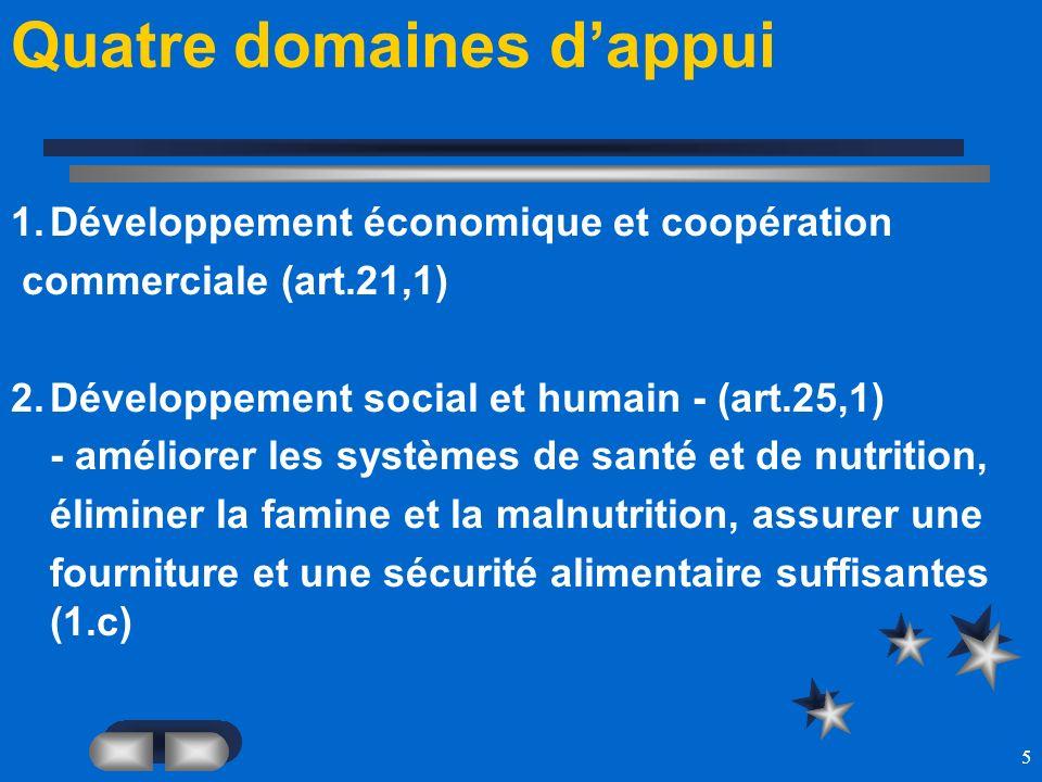 5 Quatre domaines dappui 1.Développement économique et coopération commerciale (art.21,1) 2.Développement social et humain - (art.25,1) - améliorer le