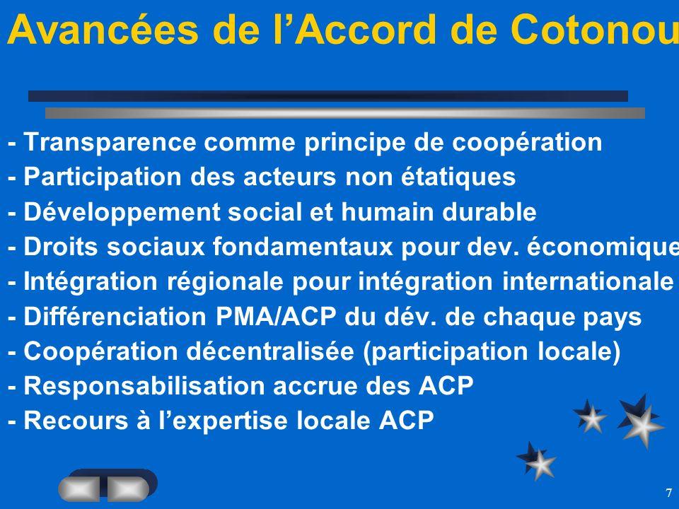 7 Avancées de lAccord de Cotonou - Transparence comme principe de coopération - Participation des acteurs non étatiques - Développement social et huma
