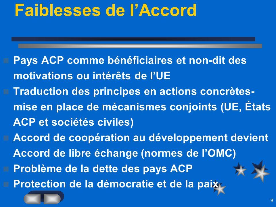 9 Faiblesses de lAccord Pays ACP comme bénéficiaires et non-dit des motivations ou intérêts de lUE Traduction des principes en actions concrètes- mise