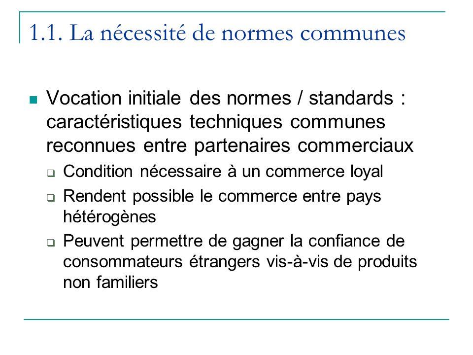 1.1. La nécessité de normes communes Vocation initiale des normes / standards : caractéristiques techniques communes reconnues entre partenaires comme