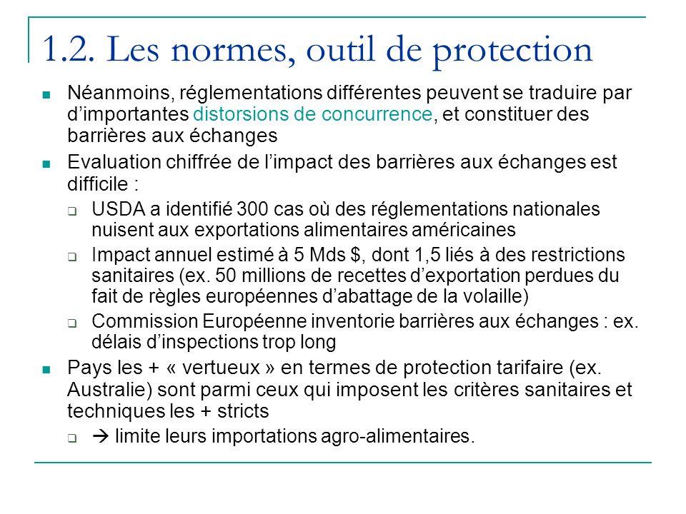 1.2. Les normes, outil de protection Néanmoins, réglementations différentes peuvent se traduire par dimportantes distorsions de concurrence, et consti