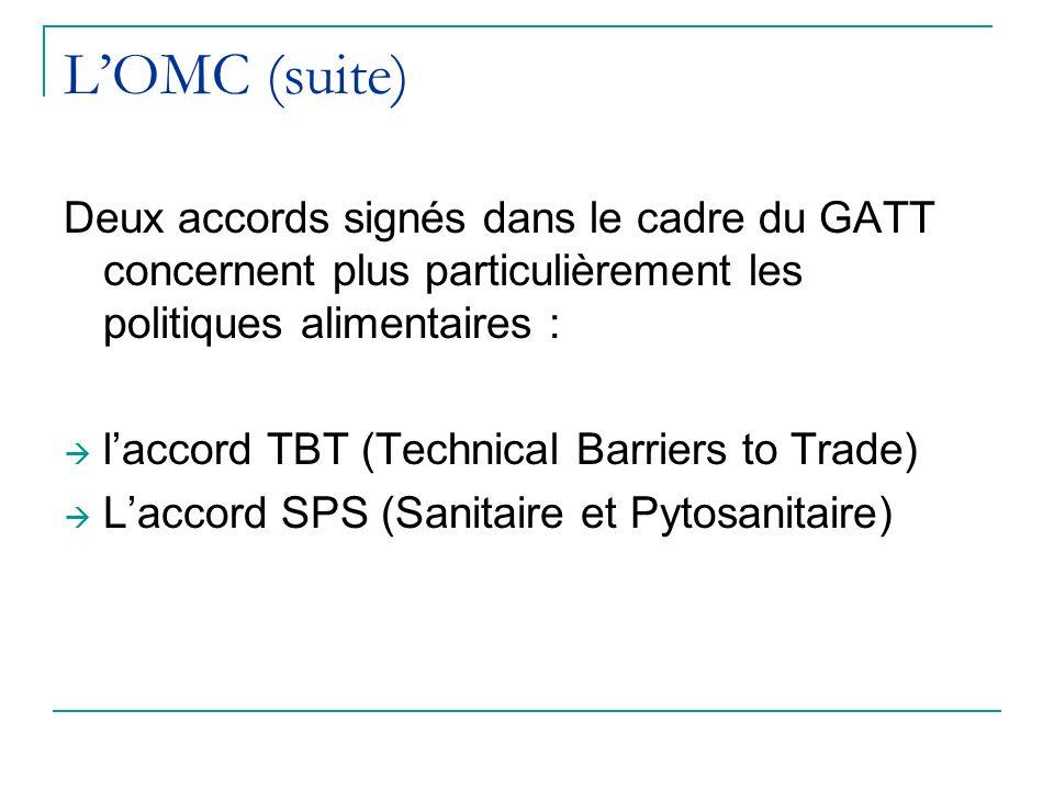 LOMC (suite) Deux accords signés dans le cadre du GATT concernent plus particulièrement les politiques alimentaires : laccord TBT (Technical Barriers to Trade) Laccord SPS (Sanitaire et Pytosanitaire)