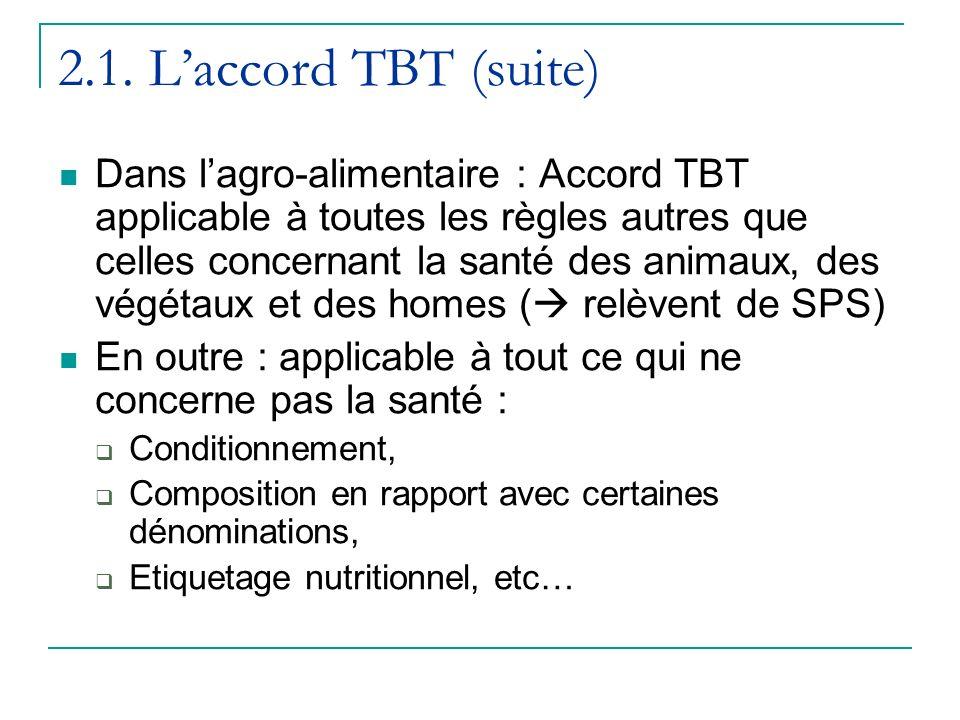 2.1. Laccord TBT (suite) Dans lagro-alimentaire : Accord TBT applicable à toutes les règles autres que celles concernant la santé des animaux, des vég