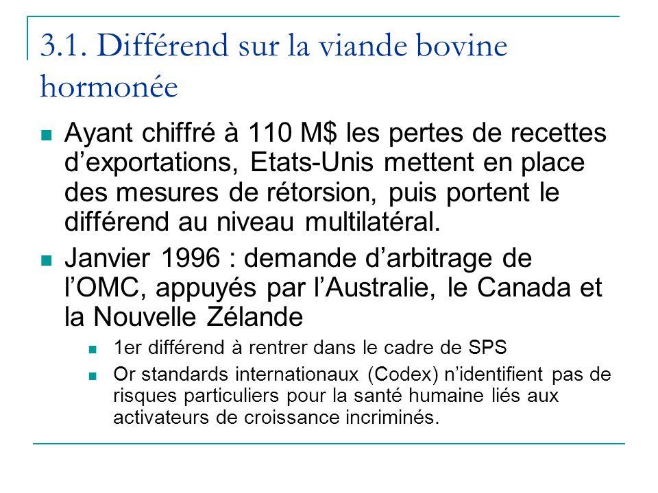 3.1. Différend sur la viande bovine hormonée Ayant chiffré à 110 M$ les pertes de recettes dexportations, Etats-Unis mettent en place des mesures de r
