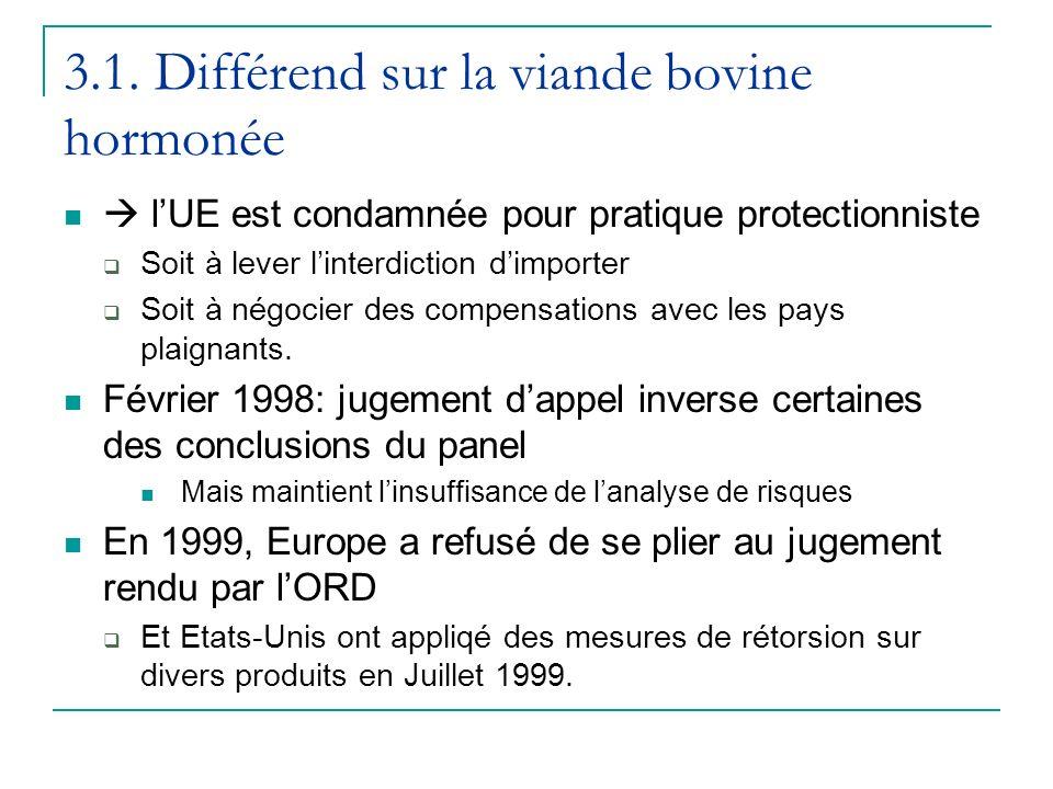 3.1. Différend sur la viande bovine hormonée lUE est condamnée pour pratique protectionniste Soit à lever linterdiction dimporter Soit à négocier des