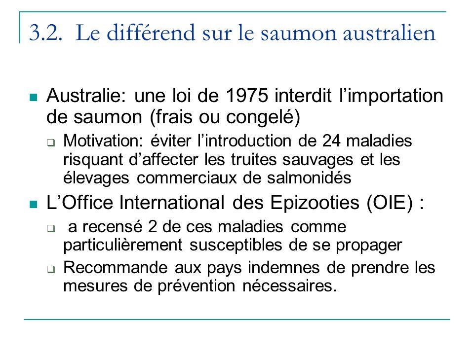 3.2. Le différend sur le saumon australien Australie: une loi de 1975 interdit limportation de saumon (frais ou congelé) Motivation: éviter lintroduct