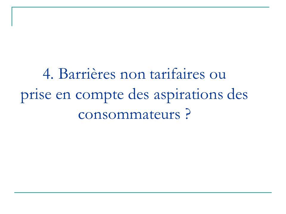4. Barrières non tarifaires ou prise en compte des aspirations des consommateurs ?