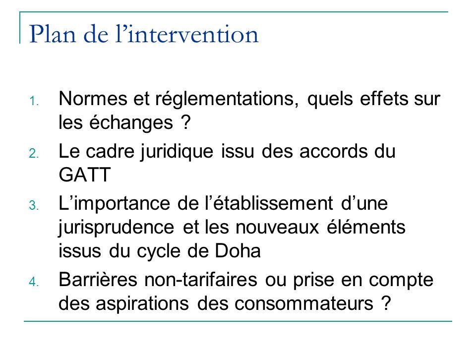 Plan de lintervention 1.Normes et réglementations, quels effets sur les échanges .
