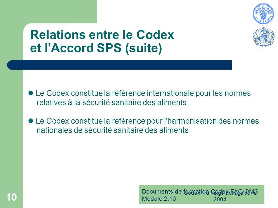 Documents de formation Codex FAO/OMS Module 2.10 Codex Training Package June 2004 10 Relations entre le Codex et l'Accord SPS (suite) Le Codex constit