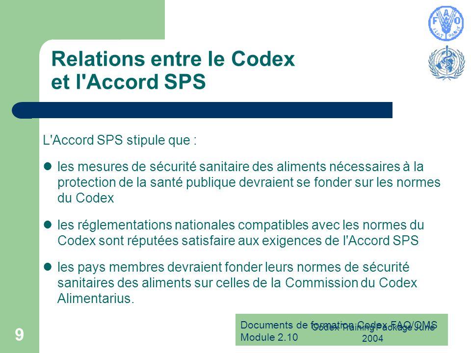 Documents de formation Codex FAO/OMS Module 2.10 Codex Training Package June 2004 9 Relations entre le Codex et l'Accord SPS L'Accord SPS stipule que