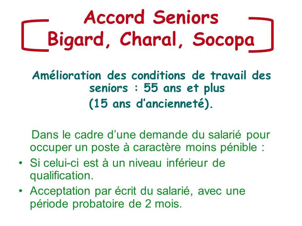 Accord Seniors Bigard, Charal, Socopa Amélioration des conditions de travail des seniors : 55 ans et plus (15 ans dancienneté). Dans le cadre dune dem