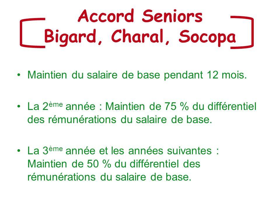 Accord Seniors Bigard, Charal, Socopa Maintien du salaire de base pendant 12 mois. La 2 ème année : Maintien de 75 % du différentiel des rémunérations