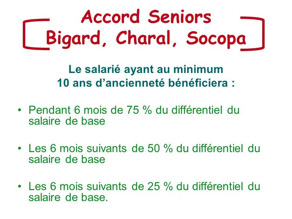 Accord Seniors Bigard, Charal, Socopa Le salarié ayant au minimum 10 ans dancienneté bénéficiera : Pendant 6 mois de 75 % du différentiel du salaire d