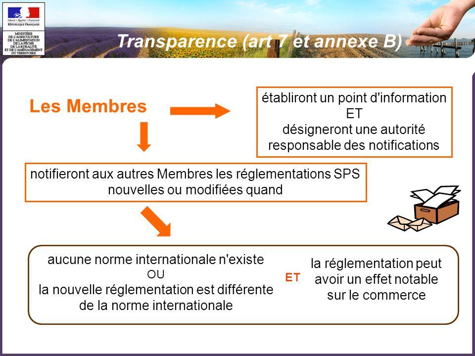 Les Membres établiront un point d'information ET désigneront une autorité responsable des notifications notifieront aux autres Membres les réglementat