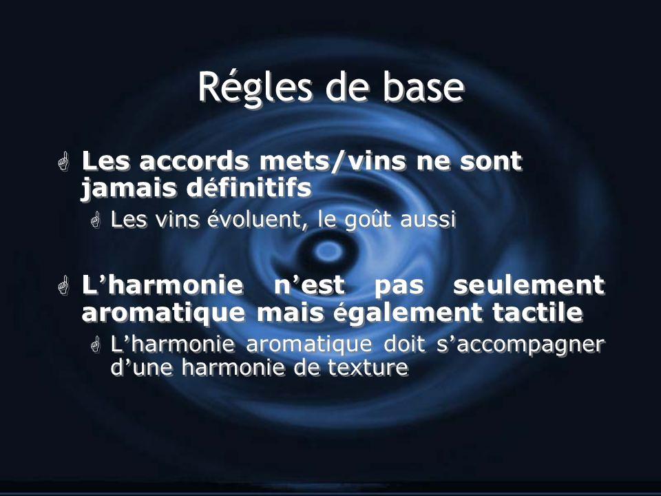 Régles de base Les accords mets/vins ne sont jamais d é finitifs Les vins é voluent, le go û t aussi L harmonie n est pas seulement aromatique mais é