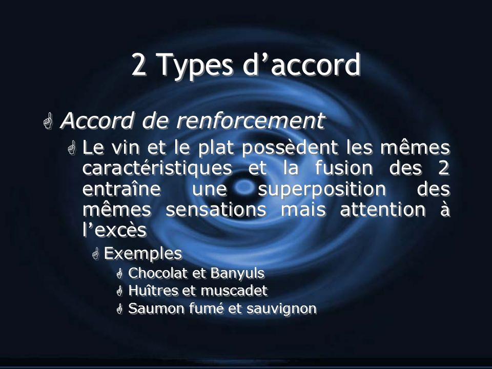 2 Types daccord G Accord de renforcement Le vin et le plat poss è dent les mêmes caract é ristiques et la fusion des 2 entra î ne une superposition de