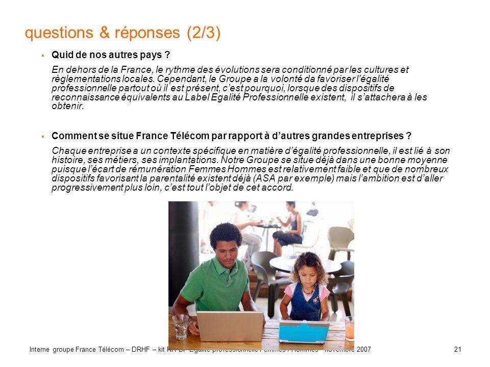 21 Interne groupe France Télécom – DRHF – kit RH BP Egalité professionnelle Femmes / Hommes - novembre 2007 questions & réponses (2/3) Quid de nos aut