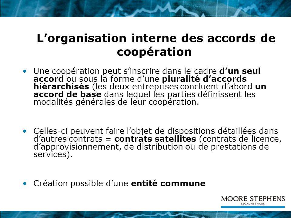 Lorganisation interne des accords de coopération Une coopération peut sinscrire dans le cadre dun seul accord ou sous la forme dune pluralité daccords