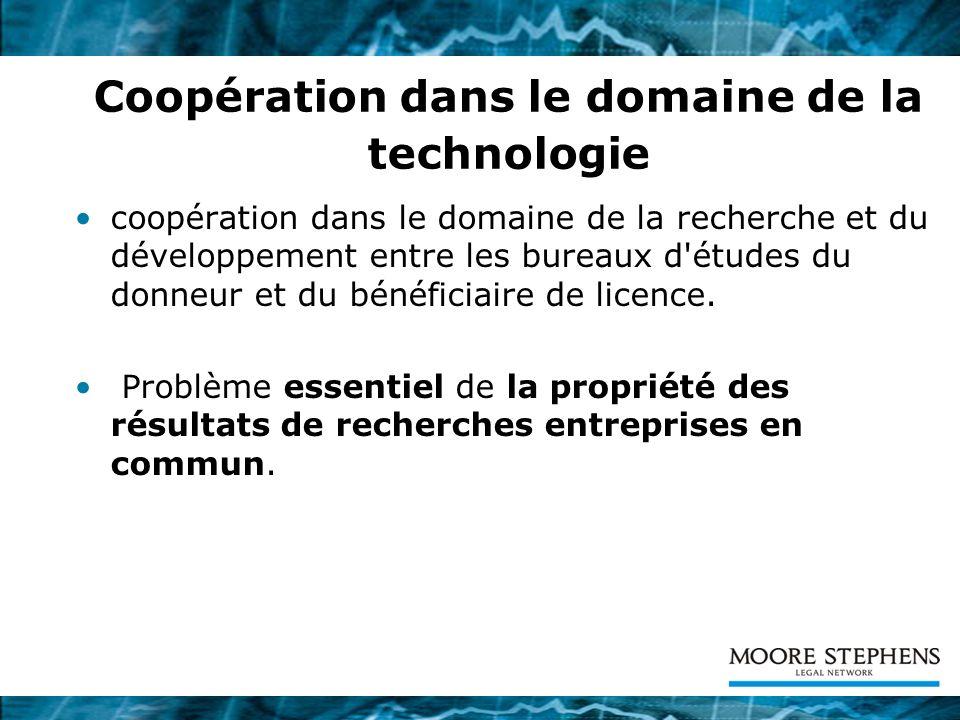 Coopération dans le domaine de la technologie coopération dans le domaine de la recherche et du développement entre les bureaux d'études du donneur et