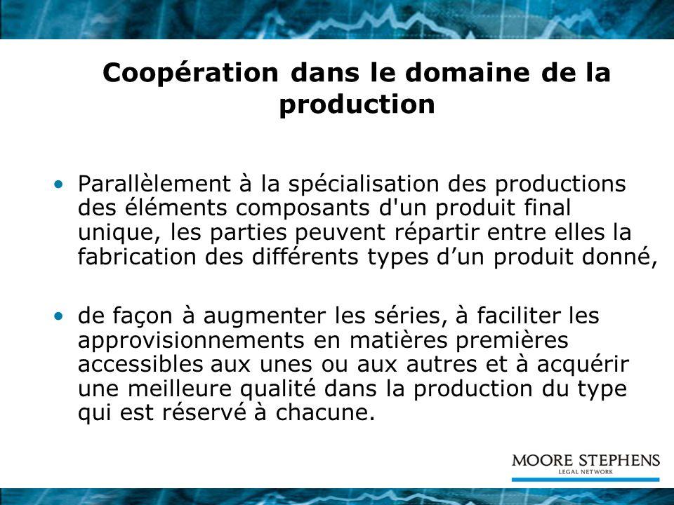 La cession des produits résultant de la coopération industrielle Les produits résultant de la coopération peuvent être cédées d une partie à l autre ou à des tiers.