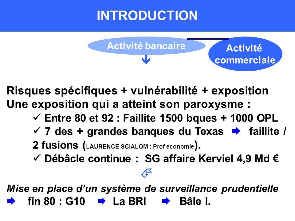 Risques spécifiques + vulnérabilité + exposition Une exposition qui a atteint son paroxysme : Entre 80 et 92 : Faillite 1500 bques + 1000 OPL 7 des + grandes banques du Texas faillite / 2 fusions ( LAURENCE SCIALOM : Prof économie ).