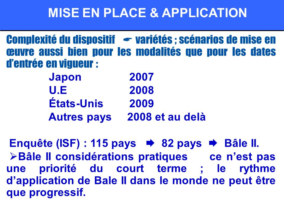 Complexité du dispositif variétés ; scénarios de mise en œuvre aussi bien pour les modalités que pour les dates dentrée en vigueur : Japon 2007 U.E 2008 États-Unis 2009 Autres pays 2008 et au delà Enquête (ISF) : 115 pays 82 pays Bâle II.
