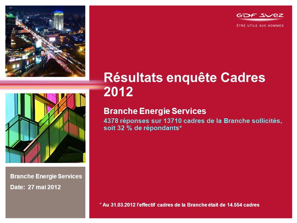 Résultats enquête Cadres 2012 Branche Energie Services 4378 réponses sur 13710 cadres de la Branche sollicités, soit 32 % de répondants* Branche Energie Services Date: 27 mai 2012 * Au 31.03.2012 leffectif cadres de la Branche était de 14.554 cadres