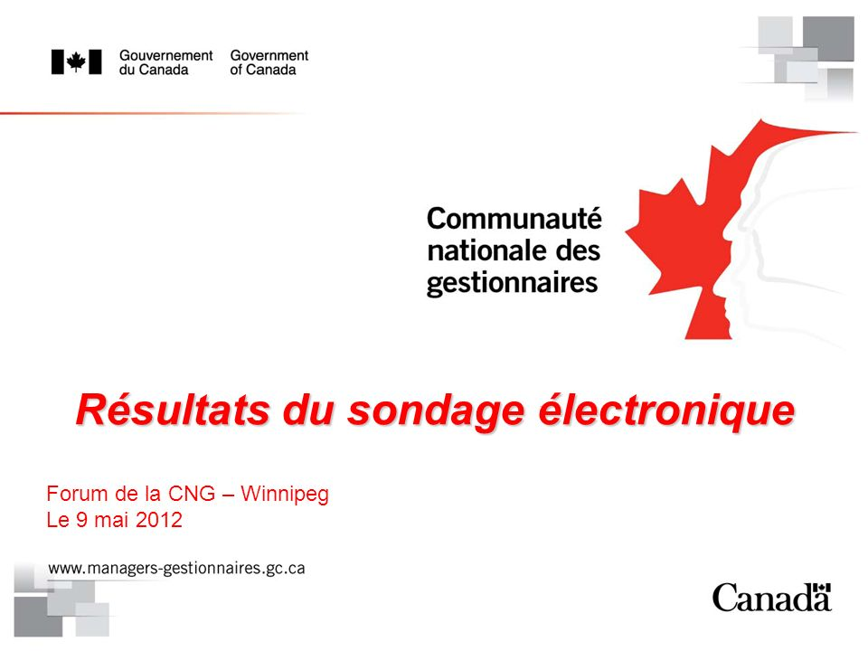 Résultats du sondage électronique Forum de la CNG – Winnipeg Le 9 mai 2012