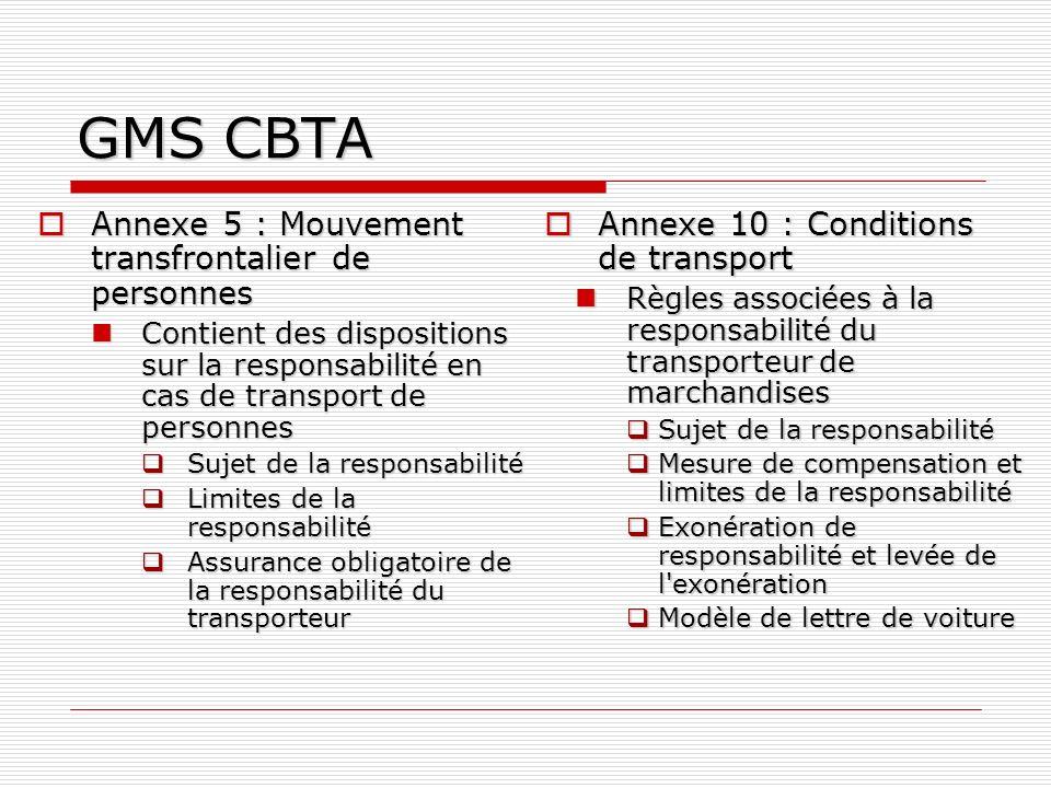 GMS CBTA Annexe 5 : Mouvement transfrontalier de personnes Annexe 5 : Mouvement transfrontalier de personnes Contient des dispositions sur la responsa