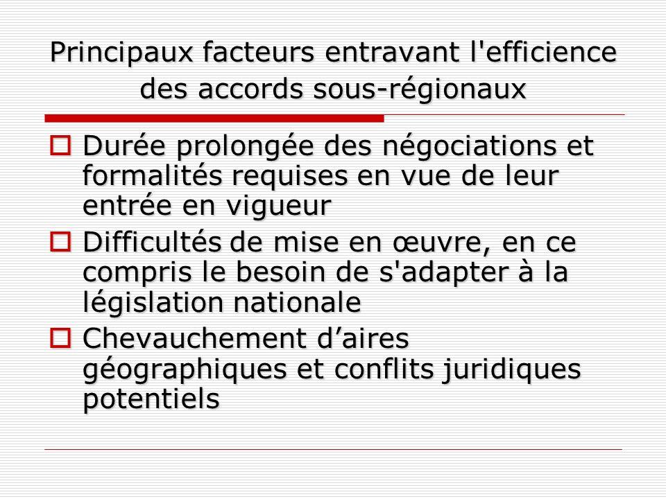 Principaux facteurs entravant l'efficience des accords sous-régionaux Durée prolongée des négociations et formalités requises en vue de leur entrée en