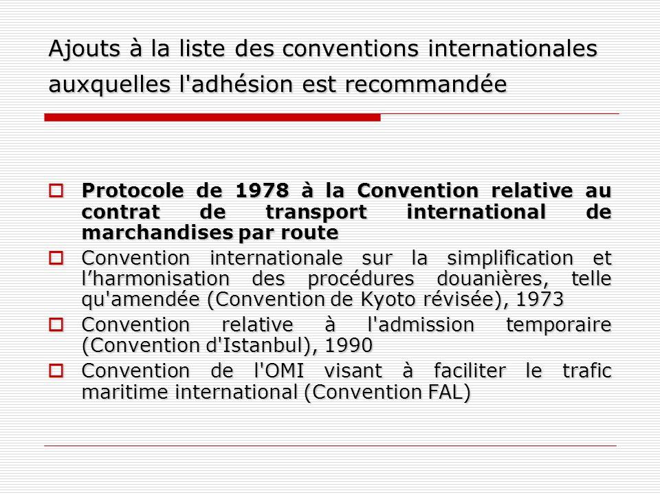 Ajouts à la liste des conventions internationales auxquelles l'adhésion est recommandée Protocole de 1978 à la Convention relative au contrat de trans