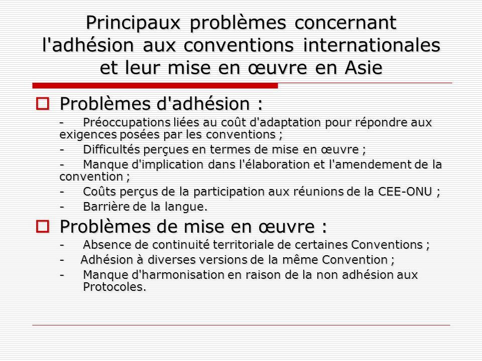 Principaux problèmes concernant l'adhésion aux conventions internationales et leur mise en œuvre en Asie Problèmes d'adhésion : Problèmes d'adhésion :
