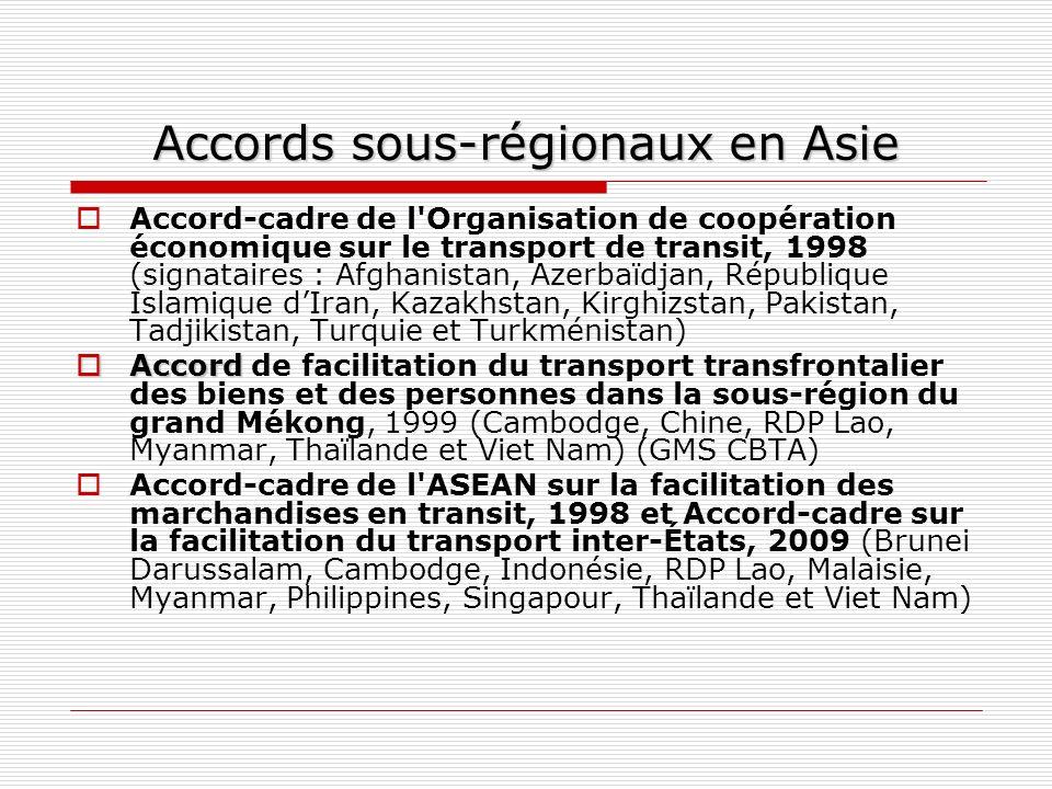 Accords sous-régionaux en Asie Accord-cadre de l'Organisation de coopération économique sur le transport de transit, 1998 (signataires : Afghanistan,