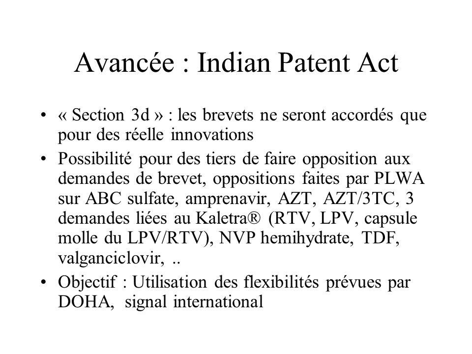Avancée : Indian Patent Act « Section 3d » : les brevets ne seront accordés que pour des réelle innovations Possibilité pour des tiers de faire opposi