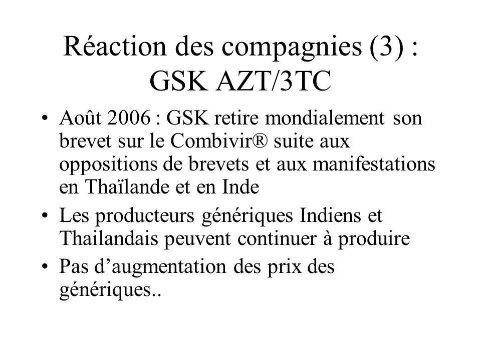 Réaction des compagnies (3) : GSK AZT/3TC Août 2006 : GSK retire mondialement son brevet sur le Combivir® suite aux oppositions de brevets et aux mani