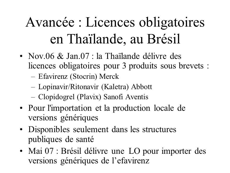 Avancée : Licences obligatoires en Thaïlande, au Brésil Nov.06 & Jan.07 : la Thaïlande délivre des licences obligatoires pour 3 produits sous brevets