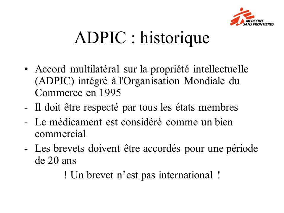 ADPIC : historique Accord multilatéral sur la propriété intellectuelle (ADPIC) intégré à l'Organisation Mondiale du Commerce en 1995 -Il doit être res