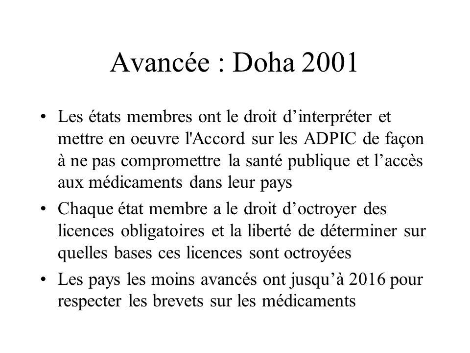 Avancée : Doha 2001 Les états membres ont le droit dinterpréter et mettre en oeuvre l'Accord sur les ADPIC de façon à ne pas compromettre la santé pub