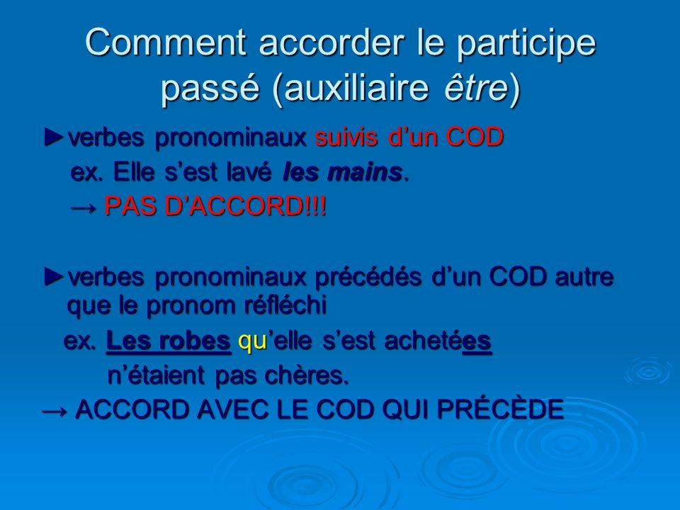 Comment accorder le participe passé (auxiliaire être) verbes pronominaux (pronom=COI) ex. Ils se sont dit bonjour. ex. Ils se sont dit bonjour. PAS DA