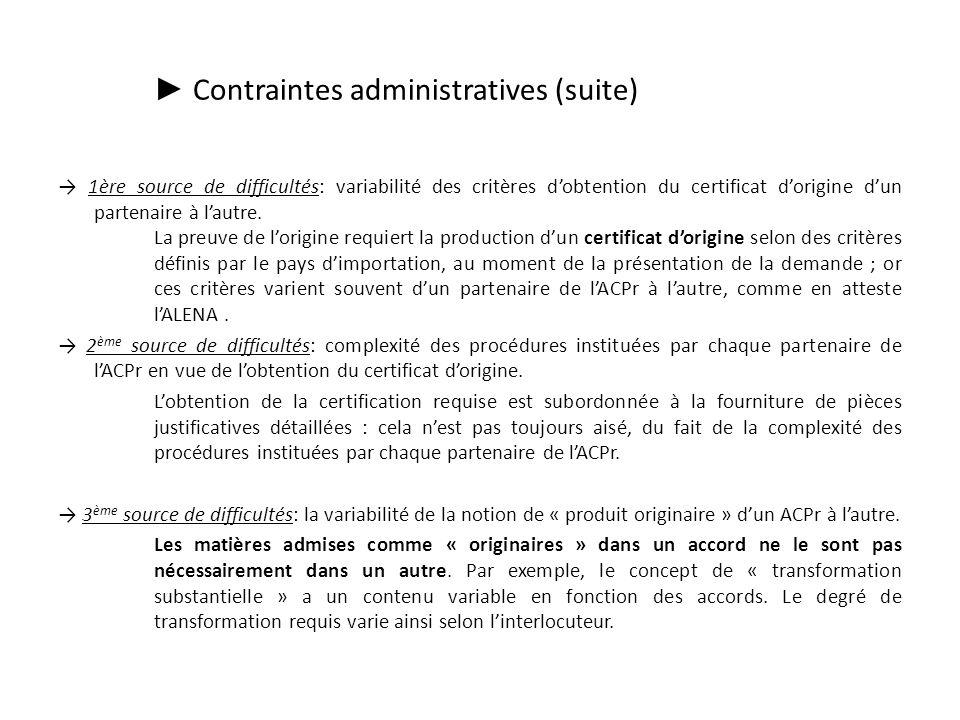 Contraintes administratives (suite) 1ère source de difficultés: variabilité des critères dobtention du certificat dorigine dun partenaire à lautre.