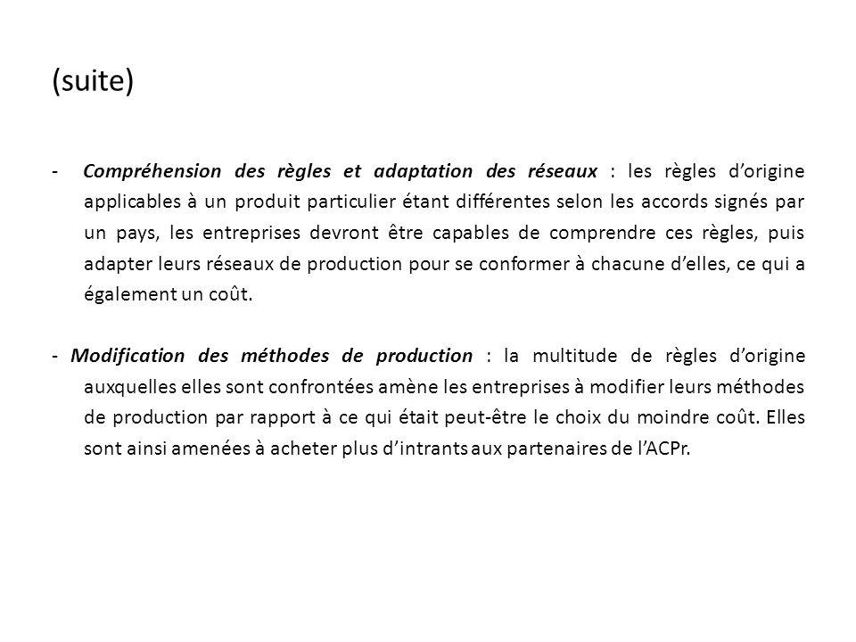 (suite) - Compréhension des règles et adaptation des réseaux : les règles dorigine applicables à un produit particulier étant différentes selon les accords signés par un pays, les entreprises devront être capables de comprendre ces règles, puis adapter leurs réseaux de production pour se conformer à chacune delles, ce qui a également un coût.