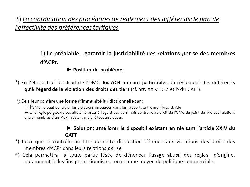 B) La coordination des procédures de règlement des différends: le pari de leffectivité des préférences tarifaires 1) Le préalable: garantir la justiciabilité des relations per se des membres dACPr.