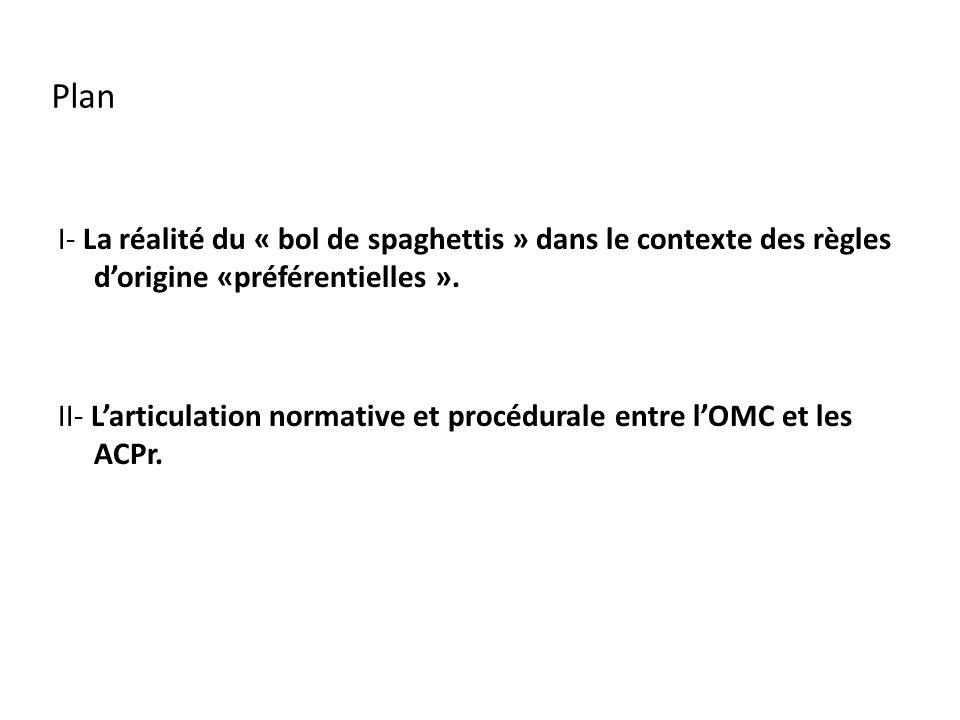 Plan I- La réalité du « bol de spaghettis » dans le contexte des règles dorigine «préférentielles ».