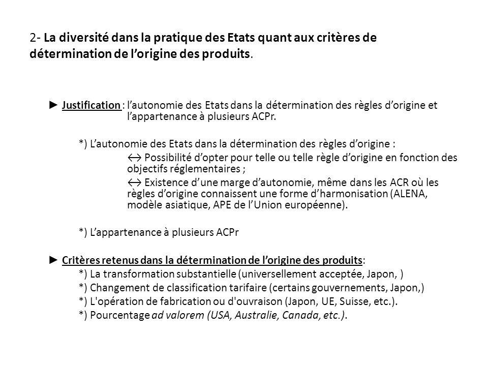 2- La diversité dans la pratique des Etats quant aux critères de détermination de lorigine des produits.